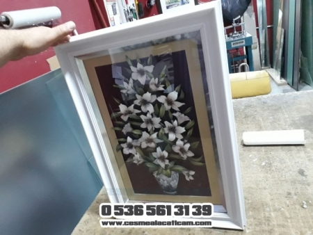 Saksıda Beyaz Çiçekler 3 Boyutlu Çerçeve